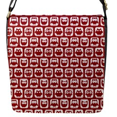 Red And White Owl Pattern Flap Messenger Bag (S)