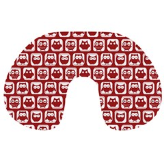 Red And White Owl Pattern Travel Neck Pillows