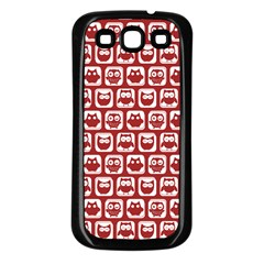 Red And White Owl Pattern Samsung Galaxy S3 Back Case (Black)