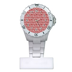 Red And White Owl Pattern Nurses Watches