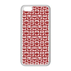 Red And White Owl Pattern Apple iPhone 5C Seamless Case (White)