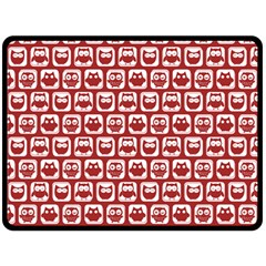 Red And White Owl Pattern Double Sided Fleece Blanket (Large)