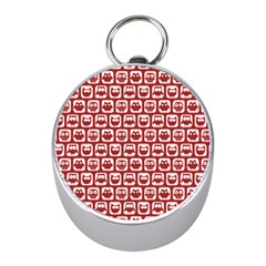 Red And White Owl Pattern Mini Silver Compasses