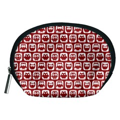 Red And White Owl Pattern Accessory Pouches (medium)
