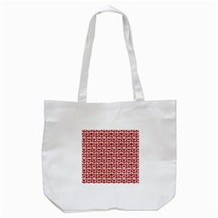 Red And White Owl Pattern Tote Bag (White)
