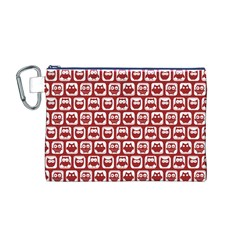 Red And White Owl Pattern Canvas Cosmetic Bag (M)