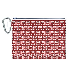 Red And White Owl Pattern Canvas Cosmetic Bag (L)