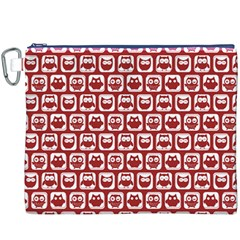 Red And White Owl Pattern Canvas Cosmetic Bag (XXXL)