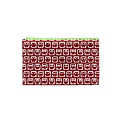 Red And White Owl Pattern Cosmetic Bag (xs)