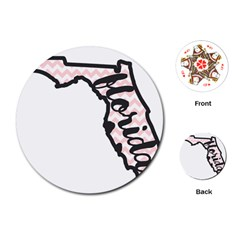 Florida Map Pride Chevron Playing Cards (round)