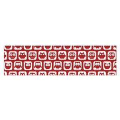 Red And White Owl Pattern Satin Scarf (oblong)
