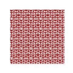 Red And White Owl Pattern Small Satin Scarf (square)