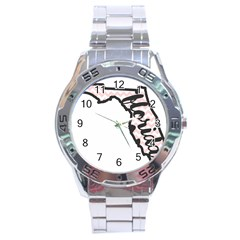 Florida Map Pride Chevron Stainless Steel Men s Watch