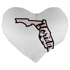Florida Map Pride Chevron Large 19  Premium Flano Heart Shape Cushions