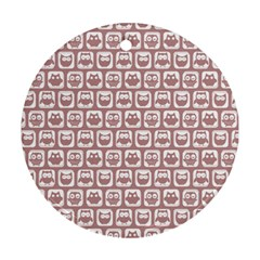 Light Pink And White Owl Pattern Ornament (Round)