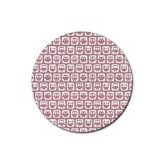 Light Pink And White Owl Pattern Rubber Coaster (Round)