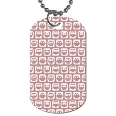 Light Pink And White Owl Pattern Dog Tag (One Side)