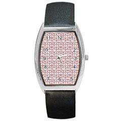 Light Pink And White Owl Pattern Barrel Metal Watches
