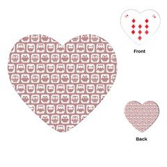 Light Pink And White Owl Pattern Playing Cards (heart)