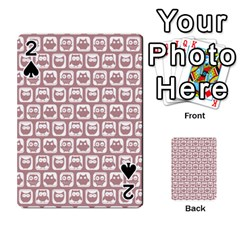 Light Pink And White Owl Pattern Playing Cards 54 Designs
