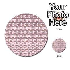 Light Pink And White Owl Pattern Multi Purpose Cards (round)