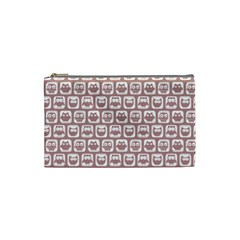 Light Pink And White Owl Pattern Cosmetic Bag (Small)