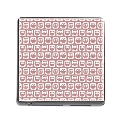 Light Pink And White Owl Pattern Memory Card Reader (Square)