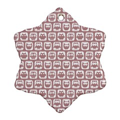 Light Pink And White Owl Pattern Snowflake Ornament (2-Side)