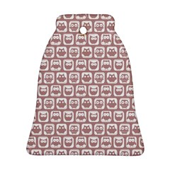 Light Pink And White Owl Pattern Bell Ornament (2 Sides)