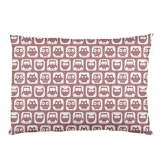 Light Pink And White Owl Pattern Pillow Cases (Two Sides)