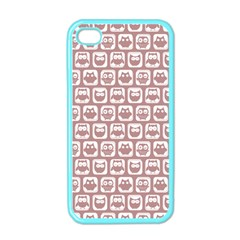 Light Pink And White Owl Pattern Apple Iphone 4 Case (color)