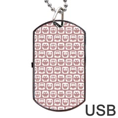 Light Pink And White Owl Pattern Dog Tag USB Flash (One Side)