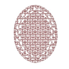 Light Pink And White Owl Pattern Ornament (Oval Filigree)