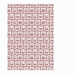 Light Pink And White Owl Pattern Large Garden Flag (Two Sides)