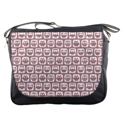 Light Pink And White Owl Pattern Messenger Bags