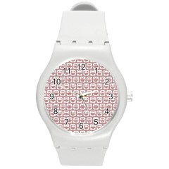 Light Pink And White Owl Pattern Round Plastic Sport Watch (M)