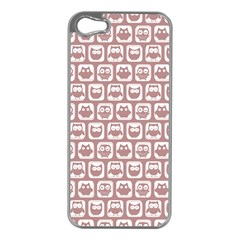 Light Pink And White Owl Pattern Apple iPhone 5 Case (Silver)