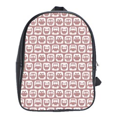 Light Pink And White Owl Pattern School Bags (XL)