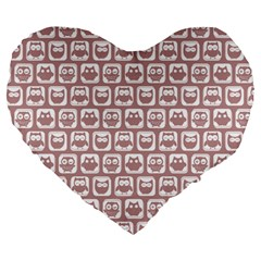 Light Pink And White Owl Pattern Large 19  Premium Heart Shape Cushions