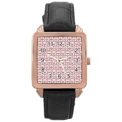 Light Pink And White Owl Pattern Rose Gold Watches