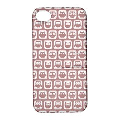 Light Pink And White Owl Pattern Apple iPhone 4/4S Hardshell Case with Stand