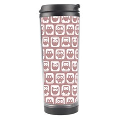 Light Pink And White Owl Pattern Travel Tumblers