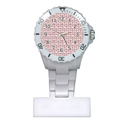 Light Pink And White Owl Pattern Nurses Watches