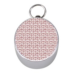 Light Pink And White Owl Pattern Mini Silver Compasses