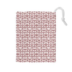 Light Pink And White Owl Pattern Drawstring Pouches (Large)