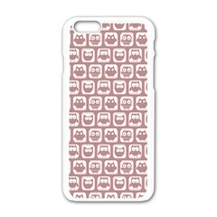 Light Pink And White Owl Pattern Apple iPhone 6 White Enamel Case