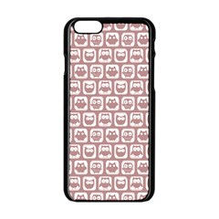 Light Pink And White Owl Pattern Apple iPhone 6 Black Enamel Case