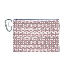 Light Pink And White Owl Pattern Canvas Cosmetic Bag (m)