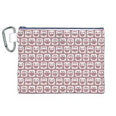 Light Pink And White Owl Pattern Canvas Cosmetic Bag (XL)