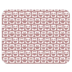 Light Pink And White Owl Pattern Double Sided Flano Blanket (Medium)
